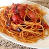 茄子とソーセージのトマトスパゲティ
