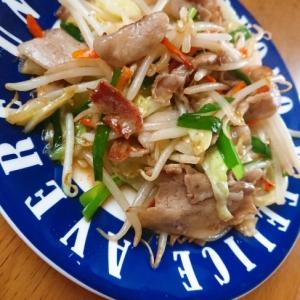豚バラ肉で野菜炒め
