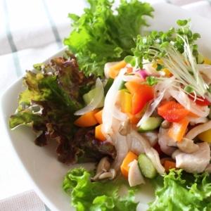 カンタン酢で鶏むね肉のカラフルマリネサラダ