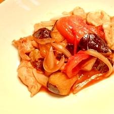 茄子と鶏肉のポン酢炒め