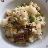 枝豆と塩昆布のバター納豆チャーハン