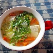 塩麹で野菜と豆腐のスープ