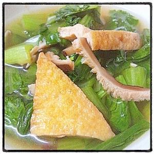 ナムルの素で小松菜と揚げのコク旨スープ
