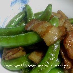 スナップエンドウとベーコンのマヨポン★炒め