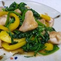 鶏肉とほうれん草とパブリカで炒め物