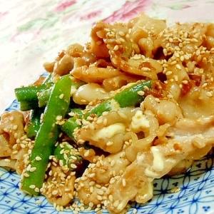 醤油麹de❤豚肉とインゲンのにんにくマヨ炒め❤