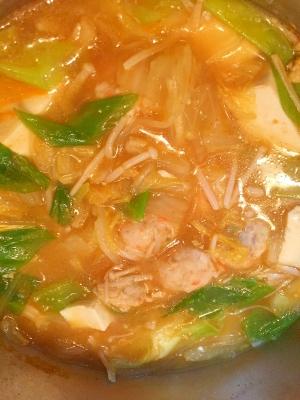 味噌キムチ鶏団子鍋♪
