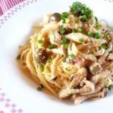 たらこスパゲティ♪ イタリアン風味のきのこ入り♪