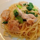 ❤鶏肉と青梗菜のガーリックパスタ❤