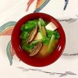落葉きのこ、しろ菜、塩とうふのお味噌汁