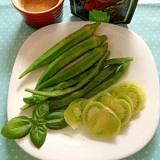 緑夏野菜バーニャカウダ♪オクラいんげん未熟トマト