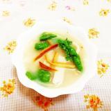 柑橘風味♪かつお菜の豆乳おだんごスープ