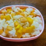 沢庵と薩摩芋の混ぜご飯