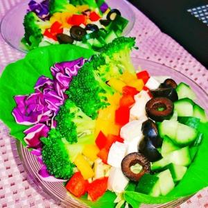 糖質制限☆彩りコブサラダ♪