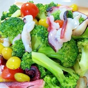 タコとブロッコリーのカラフル温野菜♪