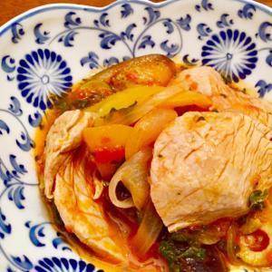 マグロと夏野菜のトマト煮