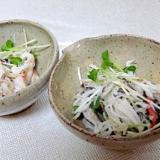 ズワイガニ塩茹で☆ 「蟹カイワレのポン酢和え」