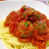 鶏団子のトマト煮パスタ