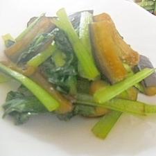 ナスと小松菜の炒め物