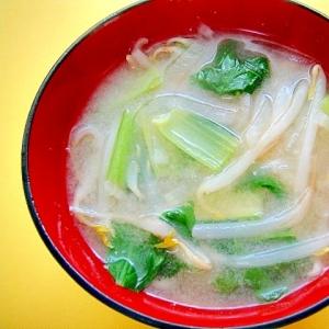 大根、もやし、小松菜のみそ汁