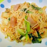 小松菜とウインナーのキムチひやむぎチャンプルー