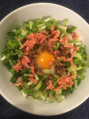 小葱と紅生姜の納豆卵かけご飯
