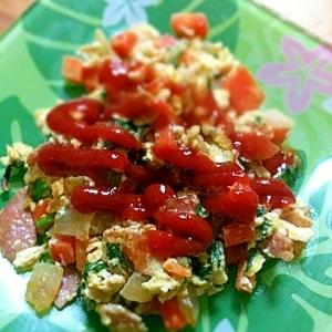 野菜たっぷりオムレツ風炒り卵