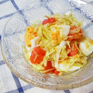さっぱり味★キャベツと卵とトマトのサラダ★