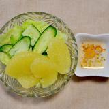 グレープフルーツときゅうりとレタスのサラダ
