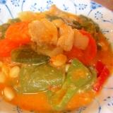 豚バラ、ピーマン、お豆のトマトスープ
