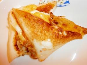 白はんぺんの納豆とチーズのはさみ焼