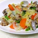 蒸野菜の自然な甘味で、あさりを調理。