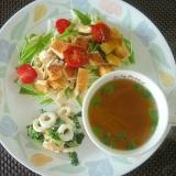 エノキと長ねぎのスープ&サラダ&竹輪と大根の葉和え
