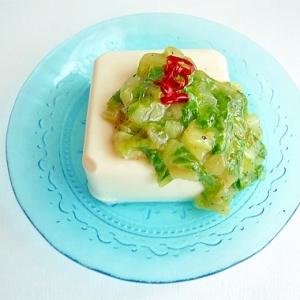 ロメインレタスの中華風あんかけ豆腐