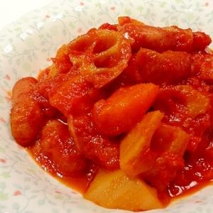 圧力鍋で簡単煮込み☆レンコンとウインナーのトマト煮