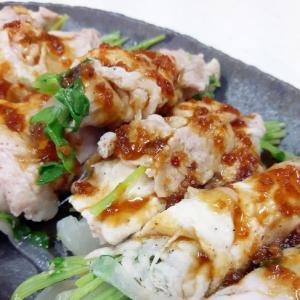 電子レンジ(^^)豆苗の豚肉巻きwith焼肉ダレ♪
