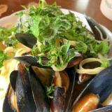 ムール貝とシソのパスタ