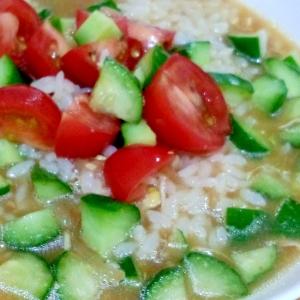 残ったスープで、冷やしスープご飯