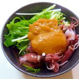 ホタルイカと水菜の辛子酢味噌和え