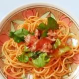 レタスとツナの冷製トマトソースパスタ
