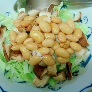 椎茸、キャベツ塩味の納豆和え