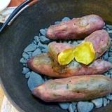 休日は、のんびり♪鉄鍋で♪石焼き芋
