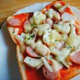 エリンギとウインナーのピザトースト