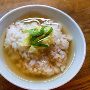 白菜と空心菜新芽の出汁茶漬け