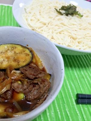 茄子と牛肉・麺つゆで♪つけ麺で食べるうまうま素麺
