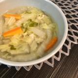 茅乃舎だしで☆鶏ひき肉と白菜のあごだしスープ