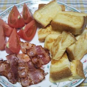 フレンチトーストとカリカリベーコンの朝食☆