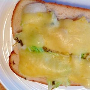 柚子胡椒と白菜の浅漬けでチーズトースト