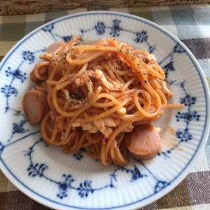 魚肉ソーセージと卵白のケチャップパスタ
