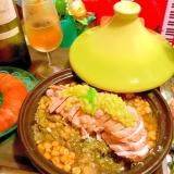 蒸し鶏むね肉と香味野菜のセロリレモン塩タジン